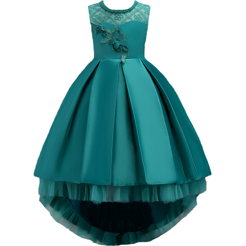 New Girls Dress Christmas Party Baby Girls Lace Bowknot Gown Dress Long Sleeve Princess Dress 3 4 5 6 7 8 9 10 11 12 13 14 Years girls princess dress summer new sleeveless for 6 7 8 9 10 11 12 13 14 15 16 years child brand wedding party long tutu full dress