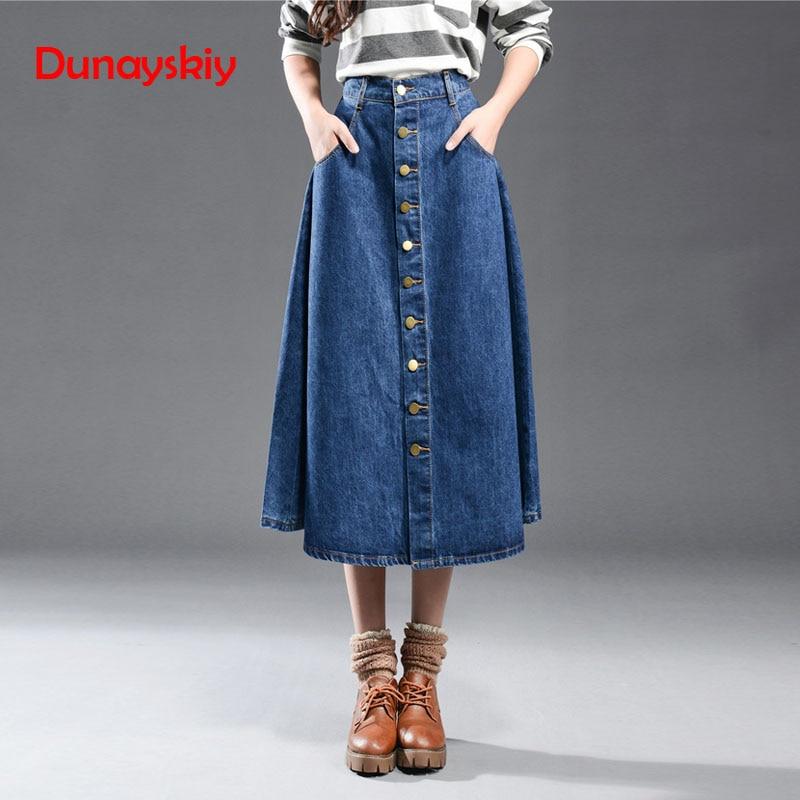 ace95586274 Купить Dunayskiy женская одежда синий плюс Размеры Джинсовые юбки Высокая  Талия карманы однобортный длинные джинсы юбки модные линии юбки Продажа  Дешево