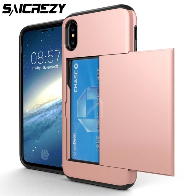 outlet store 80bf3 ea790 US $3.69 26% OFF|Luxury Armor Slide Brush Case For Apple iPhone X Xs Max Xr  Credit Card Holder Phone Case For iPhoneX Xs Card Holder Cover-in Phone ...
