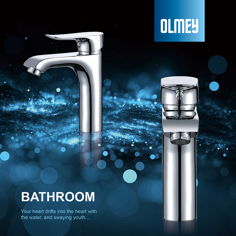 OLMEY European Style Single Handle Brass Bathroom Basin Mixer Waterfall Bathroom Vanity Basin Faucet Tap in