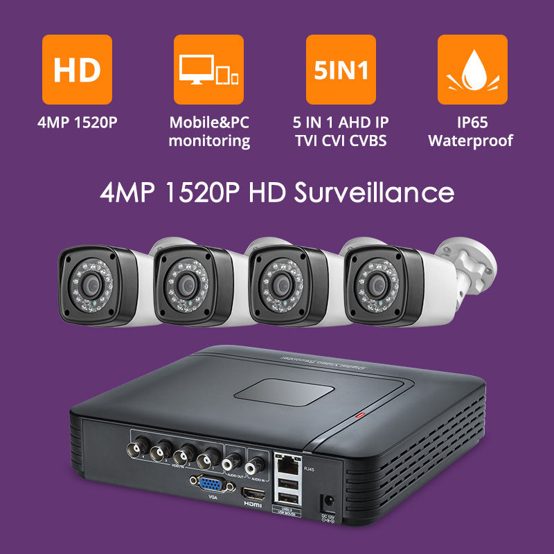 Golden Security 4MP 4CH APP PC Remote Monitoring Security DVR with AHD Outdoor Waterproof Auto motion