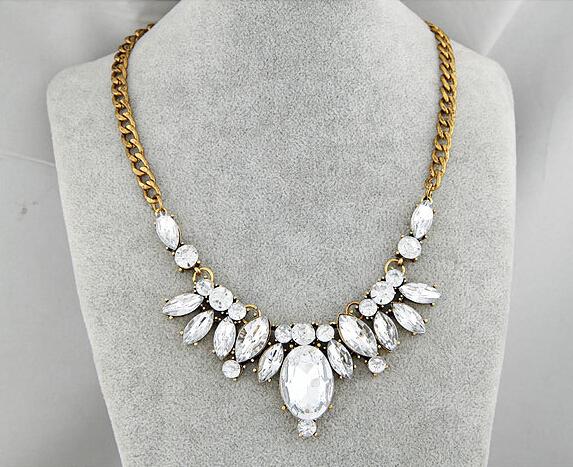 New Design hot sale Fashion Charm Crystal bib choker Necklace Rhinestone Gem Flower Chain Necklace Jewelry For Women XY-N211
