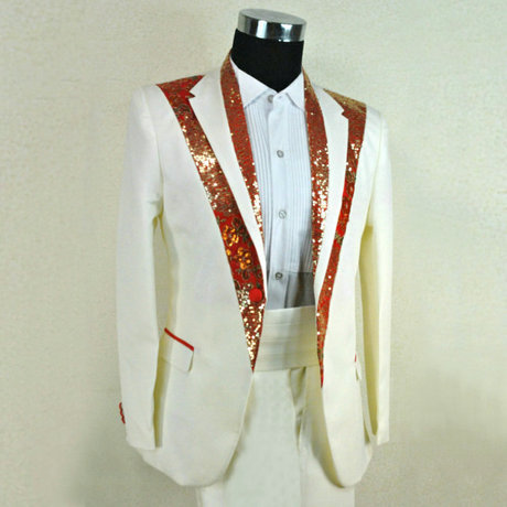 Plus Size Men Blazer stage wear fashion whiteRed paillette male formal dress suits costume clothing set  groom jacket and pants