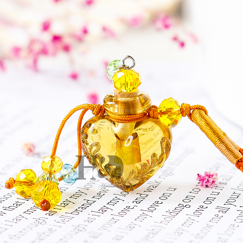цены  H&D FengShui Crystal Heart-shape Bottle Pendant Necklace Vial Perfume Essential Oil Diffuser Handmade Jewelry Gift For Women