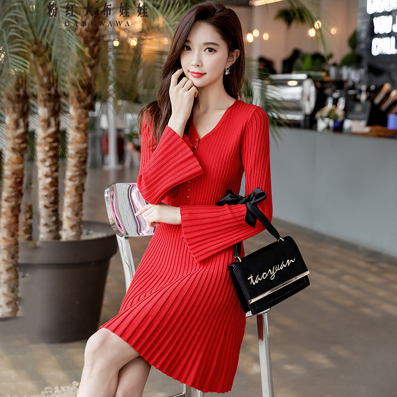 original 2018 brand vestidos spring new flare sleeve brief elegant red short knitted dress women wholesale bonu sexy bodycon sweater dress simple elegant dress female winter knitted flare sleeve split dresses for women vestidos
