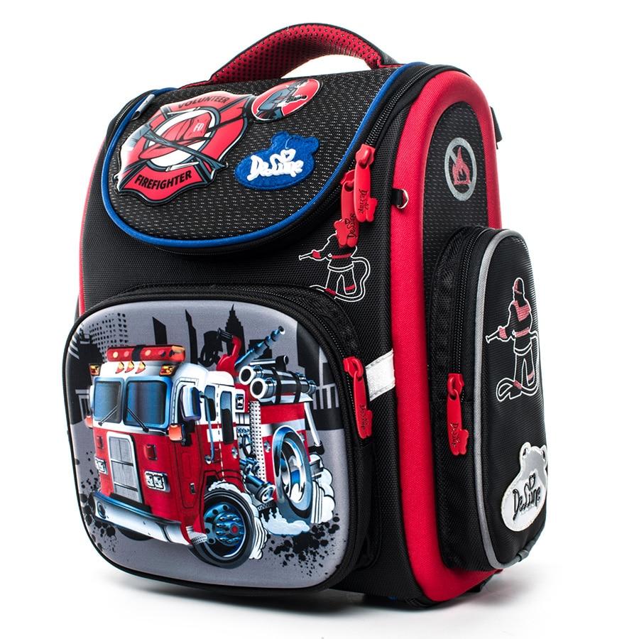 Delune Cartoon School Bags Mochila Infantil New Car Children Orthopedic School Backpacks for Boys Primary School Bag Grade 1-5