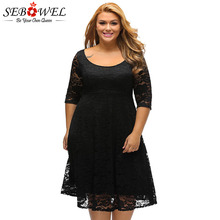 SEBOWEL Plus Size Black Floral Lace Curve A-line Party Dress Woman Formal Large Half Sleeve White Dresses Female Cocktail