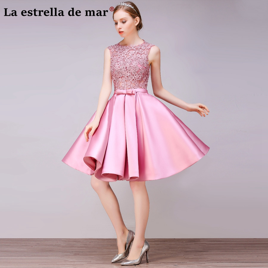 Us 44 1 10 Off Vestido Madrinha2019 New Lace And Satin A Line Pink Red Gold Bridesmaid Dresses Short Cheap Guest Guest Dress In Bridesmaid Dresses