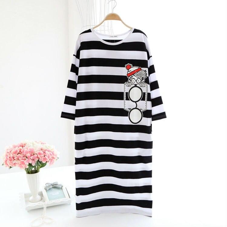 Grande taille coton lâche sommeil robe doux printemps chemises de nuit mignon dessin animé demi manches chemises de nuit confortable vêtements de nuit femmes maison