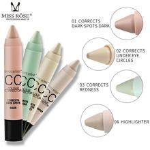 Miss Rose Brand facial Makeup Concealer Stick CC Colour Corrector Cream Eye Circle Bronzer Pen Blemish Pores Correct Redness