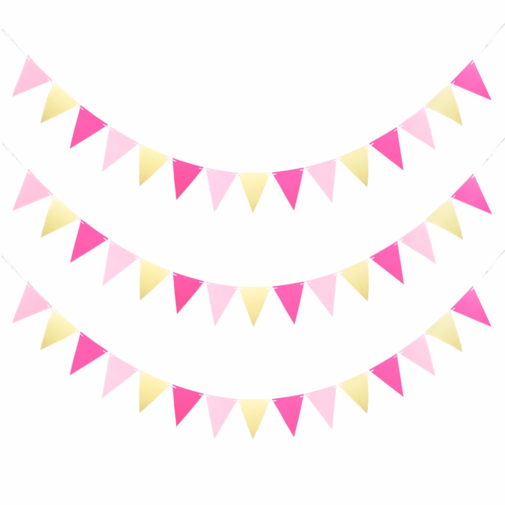 Pink Blue Silver Gold Flag Banner Glitter Paper Pennant Bunting Garland Extra Sparkle For Wedding Birthday Party In Banners Streamers Confetti