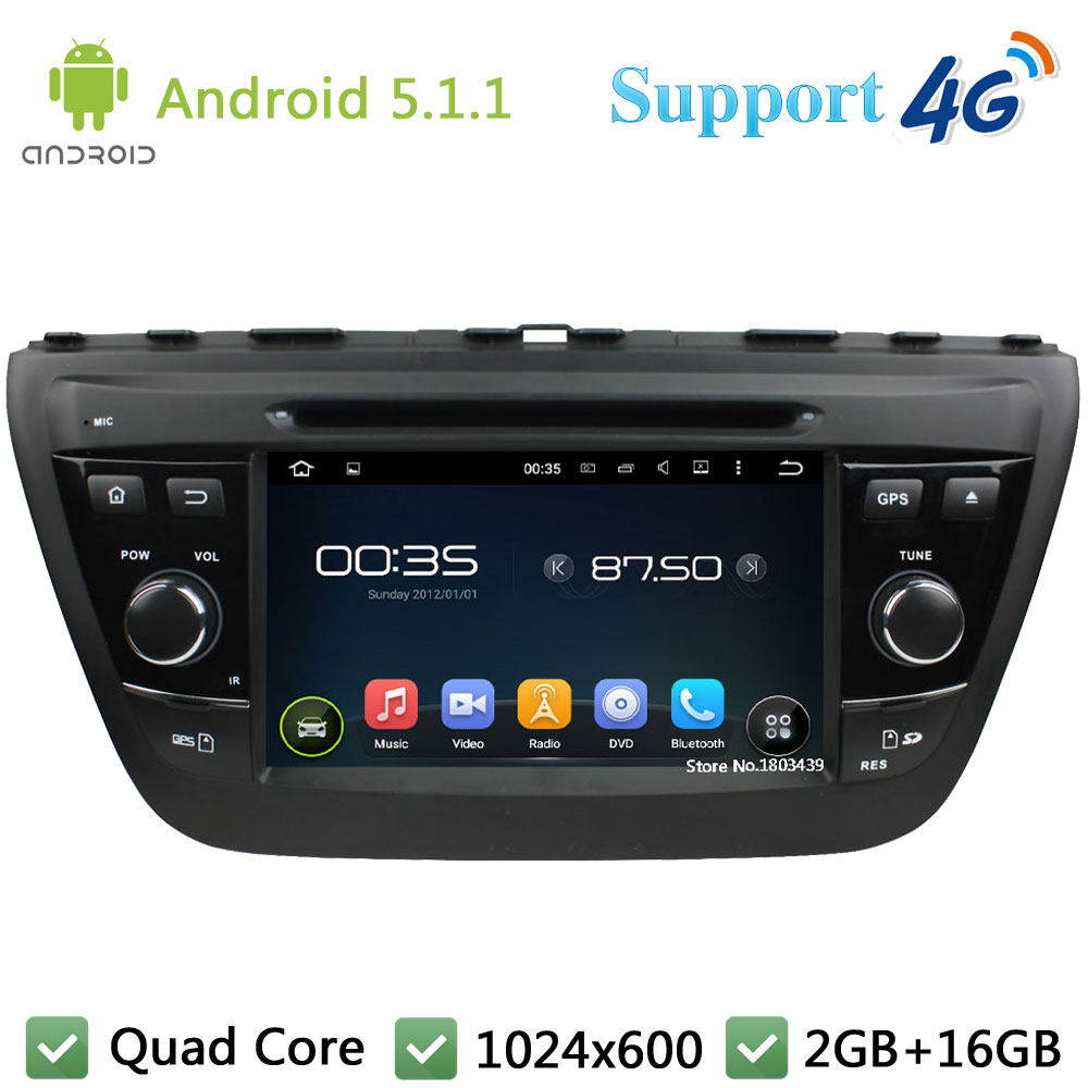 Quad Core 7″ 1024*600 2Din Android 5.1.1 Car DVD Video Player Radio USB FM DAB+ 3G/4G WIFI GPS Map For Suzuki SX4 S-Cross 2014