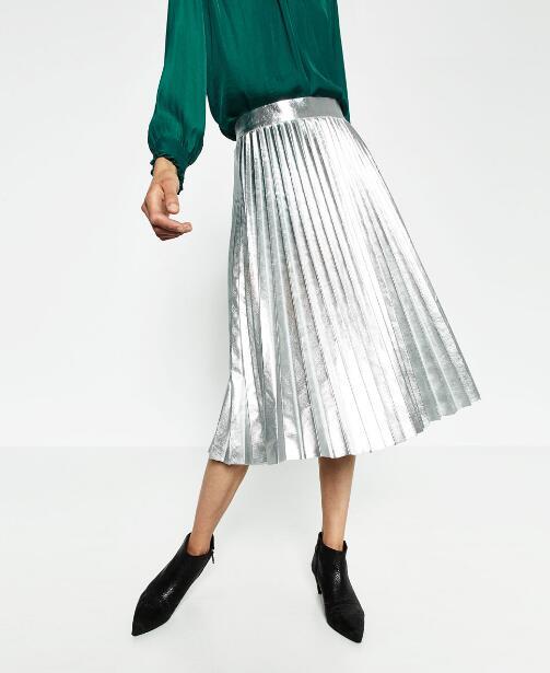 5caea96a8 VogaIn 2016 Nueva Mujer Otoño de La Manera de Plata Brillante Falda Plisada  Cintura Alta Faldas Mediados de Longitud Cremallera Lateral Bloggers ...
