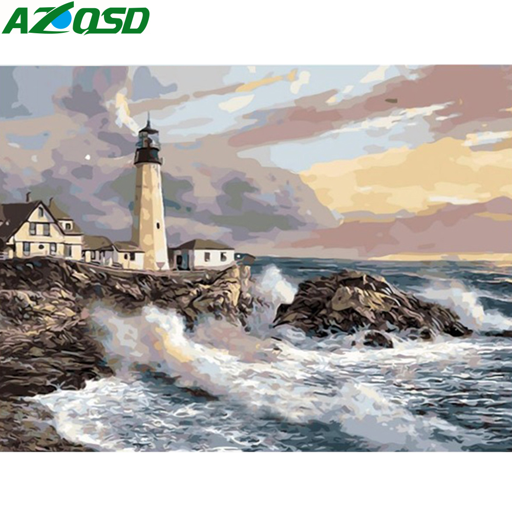 AZQSD Paint By Numbers Landscape Home Decor Acrylic Modular Digital Oil Painting Seaside Lighthouse Wall Art Frameless Szyh160