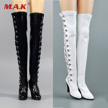 12 action figure body model accessory toys 1/6 Scale ZY1016 Female Black Straps Long Tube Womens Boots Figure Access