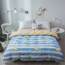 2019 New High Quality Blue and white stripes pineapple Bedding Set 1pc Stripe Duvet Cover with Zipper Quilt Cover Bedclothes(China)