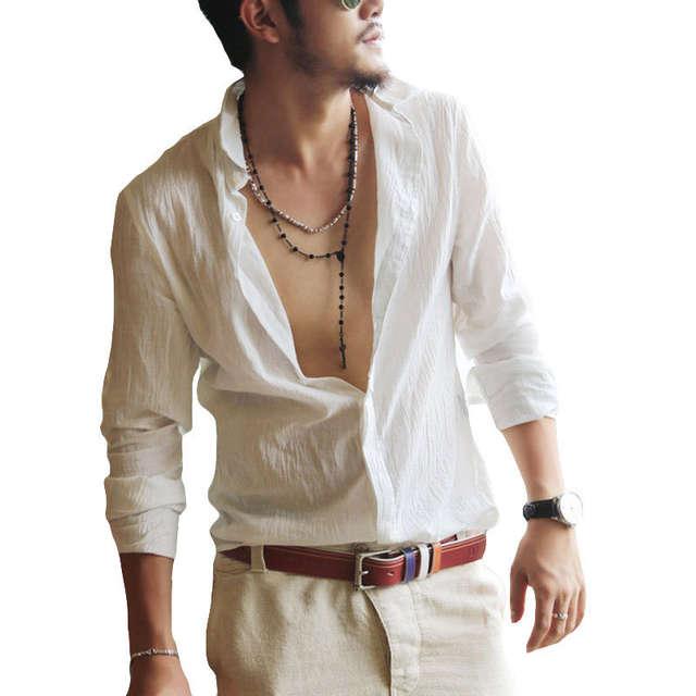 d35d0db50ffa8 Plus Size Shirts Cotton Linen Men Shirt Long Sleeve Summer Style Hawaiian  Shirts Sexy Slim Fit