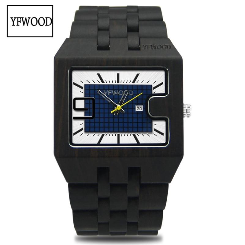 ФОТО YFWOOD Men's Women's Watches Top Luxury Brand Wood Watch With Date Display Men Clock Wristwatch