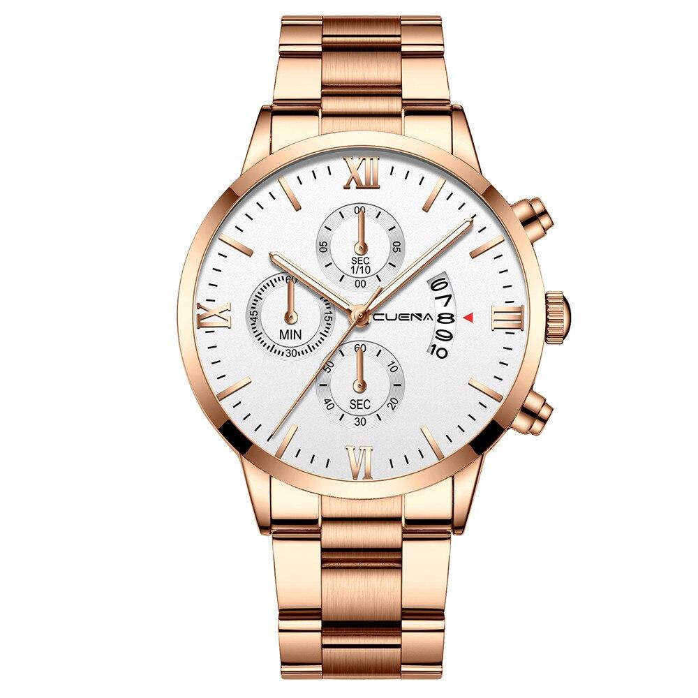 High Quality CUENA Men's Business Steel Belt Watch Three Eyes Six-Piece Calendar Quartz Watch Wristwatch Clock Gift Dropship#8
