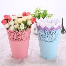 1 шт. розовый/белый/синий пластиковый стол аккуратный держатель Контейнер для ручек кружевная ваза для растений горшок цветочный горшок ручка контейнер ваза для цветов Органайзер