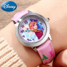 Disney Princess Series Frozen Elsa Anna Sofia Girls Leather PU Band Quartz Simple Children Watches For Hour Blue Pink New