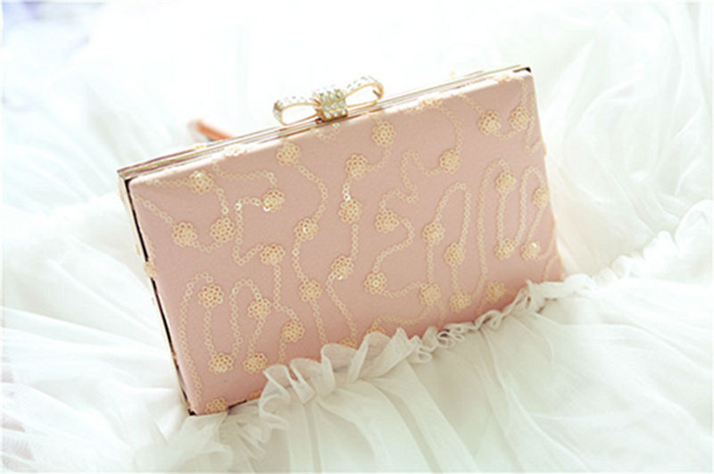 ФОТО 2016 Fashion Cotton Fabric Embroidery Pink Color Cute Bow Diamonds Flowers Floral Evening Bag Handbag Wholesale Free Shipping