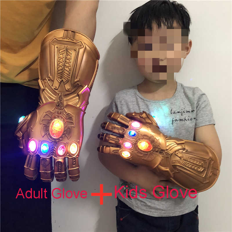 Avengers 4 Endgame Thanos Cosplay Glove Adult Kids PVC Thanos LED Infinity Gauntlet Gloves Toys Gift Halloween  Kids&Adult Size