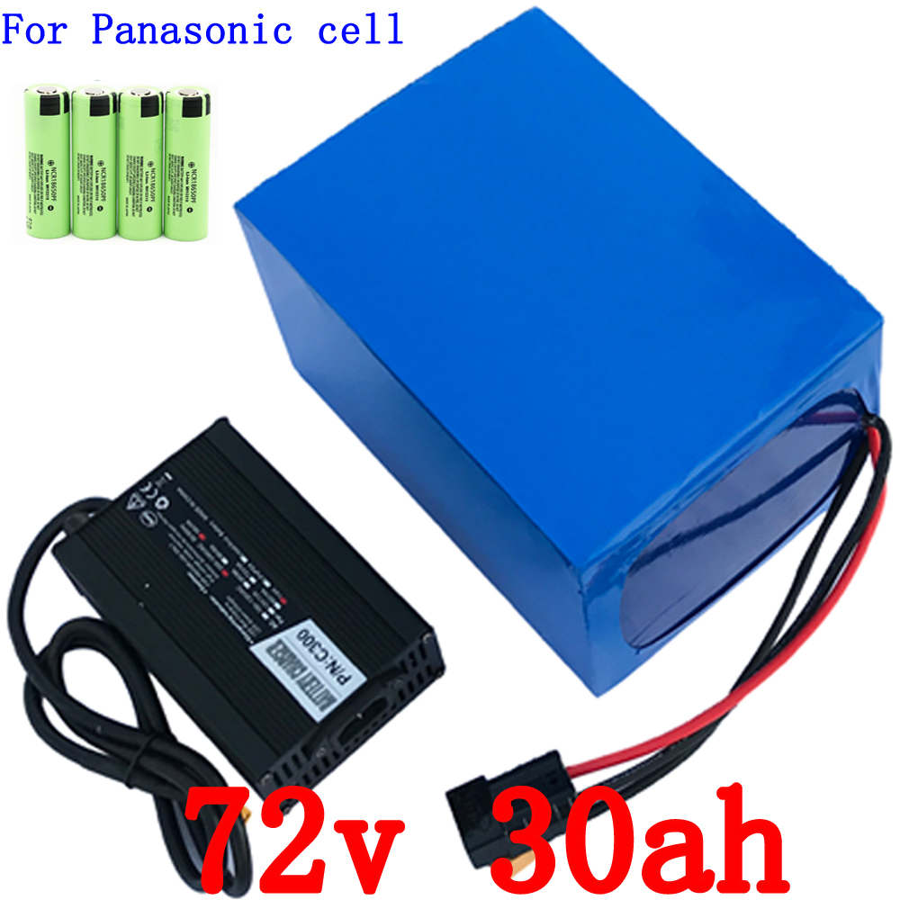 High power 72V 4000W Lithium Battery 72V 30AH E-Bike battery 72V Battery pack Use for Panasonic Cell 50A BMS and 5A Charger hand made oil wax leather watchbands 24mm retro leather strap classic male models for pam italian calfskin strap