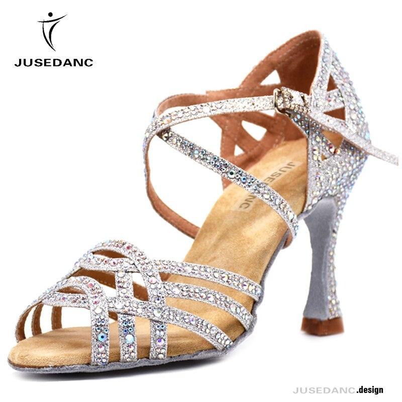 Strass Sapatos de Dança Latina Mulheres Salas Salão De Baile Sapatos de Salto Alto Pérola Valsa Sapatos Software Venda Quente JuseDanc