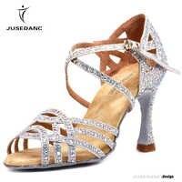 Zapatos de baile latino con diamantes de imitación zapatos de salón de baile de Mujer Zapatos de tacón alto de perlas vals Software gran oferta JuseDanc