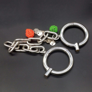 classic Rounded stainless steel leg cuffs with 38cm chain BDSM bondage fetish adult sex toys for couples slave legcuffs