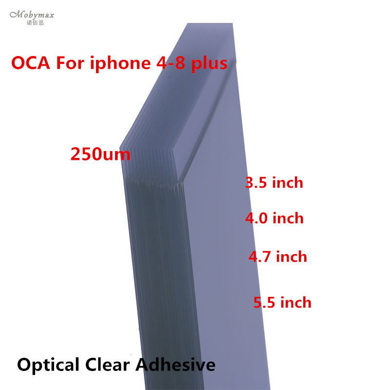 50pcs 250um OCA Optical Clear Adhesive for iPhone 5 5S 5C 4 4s 6 6s 7 plus OCA Glue Touch Glass Lens Film with easy tear stick