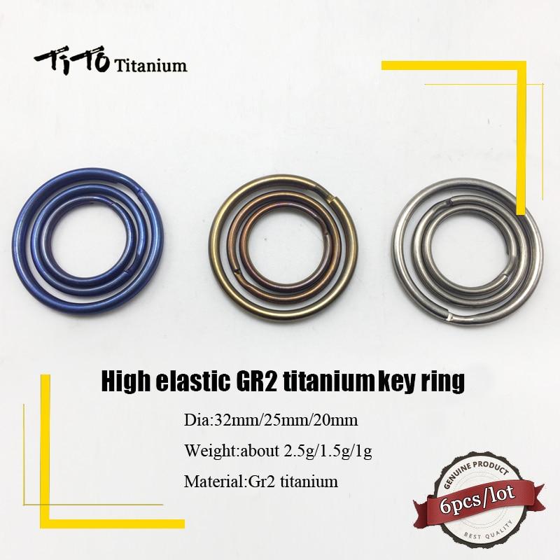 TiTo GR2 Titanium Key Ring Outdoor Micro Keychain Buckle Round Split Circle 6Pcs/lot