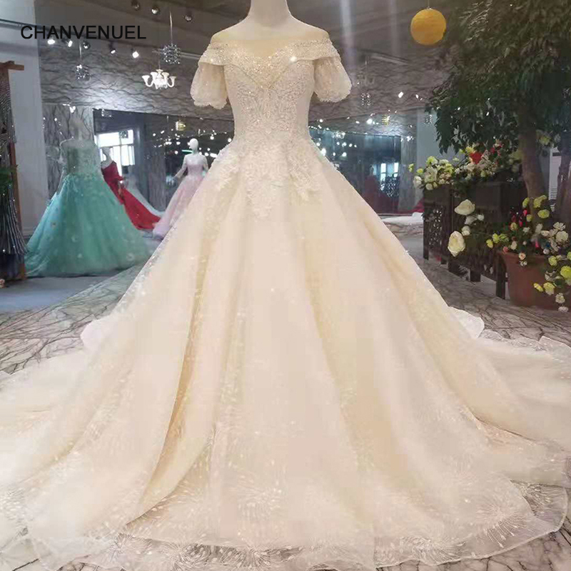 5165b7ff972aa LS11015 princess sleeve wedding dresses champagne with bubble sleeves  detachable train wedding gown sexy v-back 11.11 discount