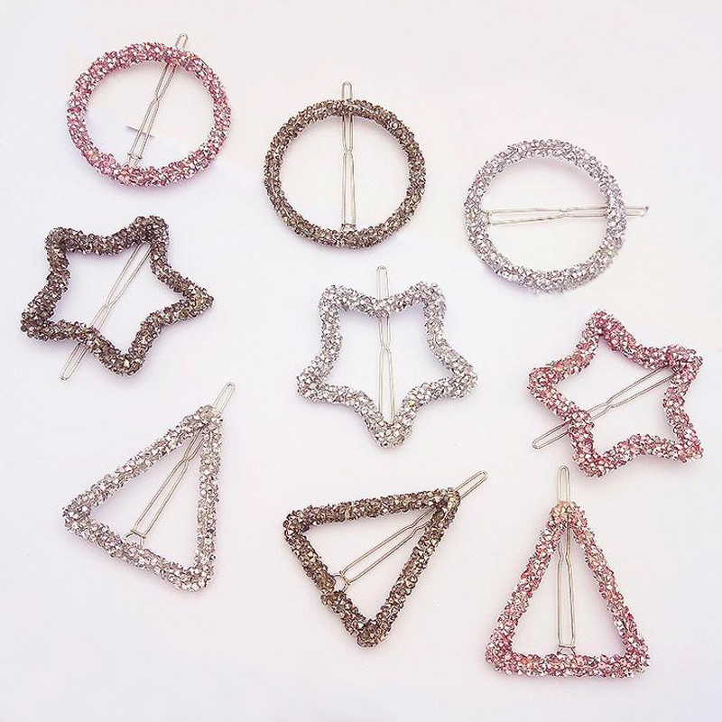 LOEEL Crystal Rhinestones Hairpin Star Triangle Round Shape Pink Black Diamond Silver Color Women Hair Clips Barrette A022