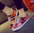 Free shipping 2015 Camouflage printed canvas graffiti 3d color shoes to help low