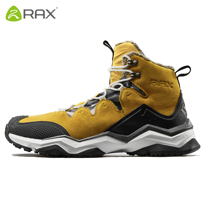 RAX Waterproof Hiking Boots Men Women Snow Boots Fleece Genuine Leather Trekking Shoes Warm Outdoor Sneakers Mountain Boots Men men winter boots plush warm hiking boots outdoor tactical trekking shoes men genuine leather waterproof ankle boots men sneakers