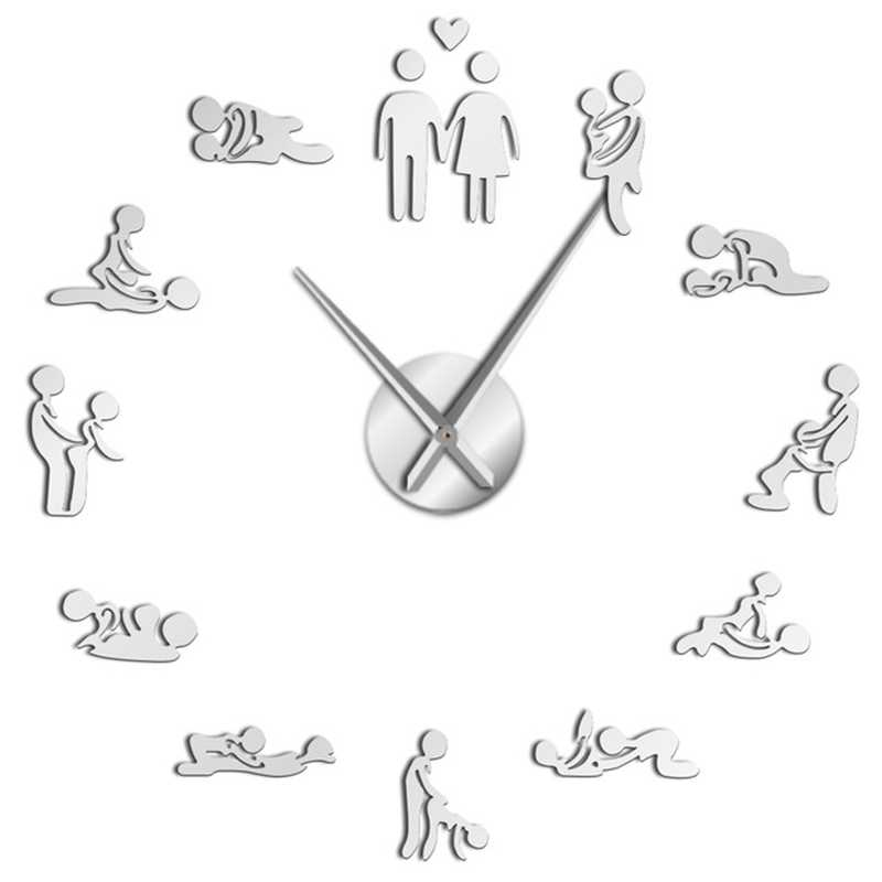 Sex Position Mute Wall Clock Single Game 3D Diy Watch Adult Room Decoration Acrylic Big Clock