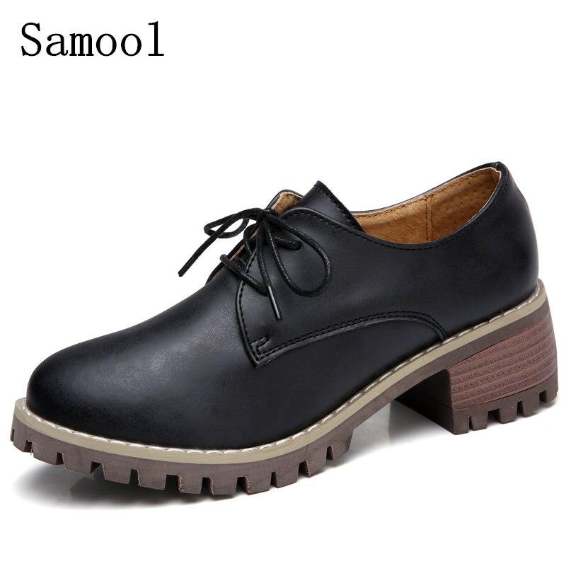 font b 2017 b font Women Platform Oxfords Brogue Flats Shoes Cow Leather Lace Up