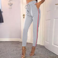 Лента сторона Лоскутные штаны 2017, женская обувь Повседневное модные серые черные брюки шнурок талии элегантные прямые брюки