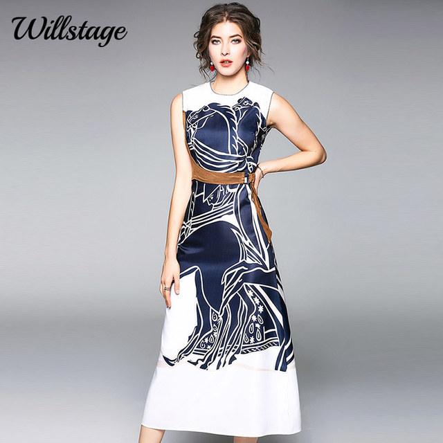 Willstage 2018 Summer Women Dress Pattern Printed Elegant Mid Dresses with  Belt Sleeveless High quality Vestidos 0eb1952d944c