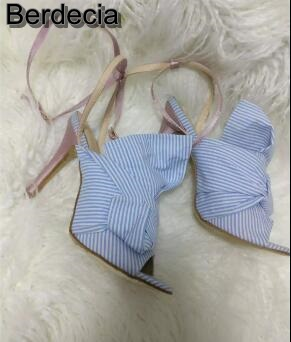 ФОТО Hot Selling Sky Blue Striped Lace-up High Heel Sandals Open toe Big Butterfly-knot Ankle Strap Thin Heel Shoes Women Big Size 10