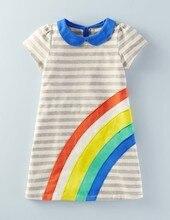 Girls Dresses Summer 2019 Girl Short Sleeve T-shirt Rainbow Princess Dress Children's Dresses Roupas Infantis Menina 2-6 Years