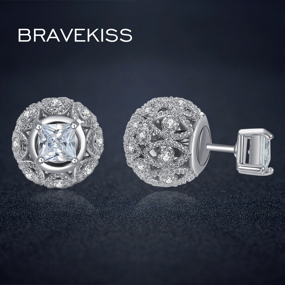BRAVEKISS small crystal ball earrings stud double sided earrings for women cz square earrings hollow earring bijoux BUE0244