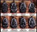 Natural preto pequeno Obsidian esculpido chinês oito padroeiro buda Kwan Yin sorte amuleto pingentes contas de colar de jóias