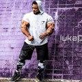 Nova mens clothing academias capuz t-shirt 100% algodão camisa de manga curta de fitness body building engenheiros sportwear capuz suspiro