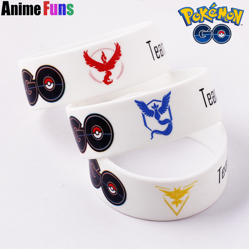 Game Pokemon Go Bracelet For Women And Men Team Valor Instinct Mystic Logo Silicone Bracelets & Bangles Charm Cosplay Jewelry