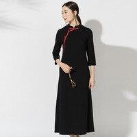 e8572044b38f0f Retro Hit Color Plate Buttons Dress Female Autumn New Slim Black Stand  Collar Cheongsam Dresses