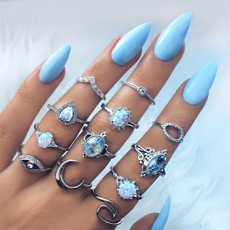 12Pcsset Plated Arcylic Crystal Ring Set Opal Vintage Eye Bohemia Ring Silver Charm Exquisite Finger Rings For Women Jewelry