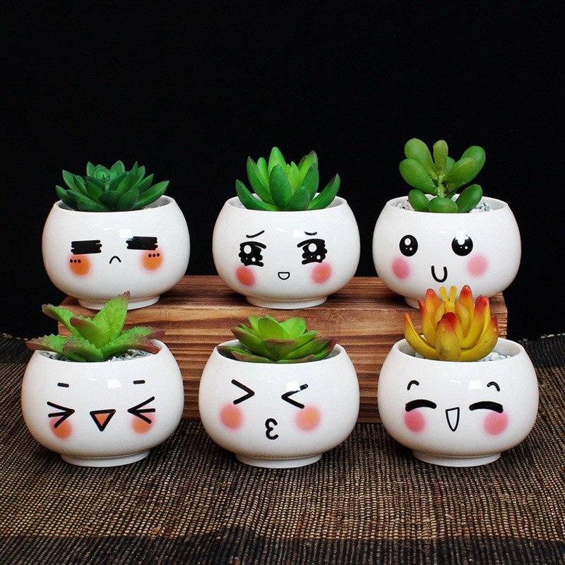 Cute Plant Pots Part - 40: Aliexpress.com : Buy YeFine Cute Expression Ceramic Small Flower Pots DIY  Planter Succulent Plants Bonsai Pots Desktop Ornaments Office Decoration  From ...